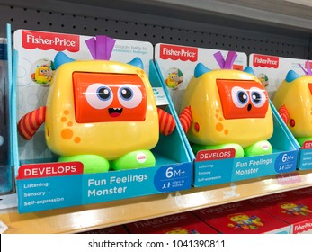 SUBANG, MALAYSIA - FEB 19, 2018: Fisher-Price brand toddlers educational toys on shelf. It is an American company that produces educational toys for children and infants, headquartered in New York.