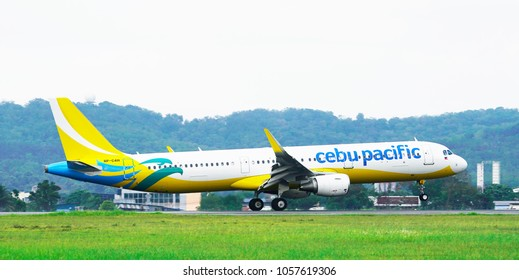SUBANG, MALAYSIA - MARCH 18, 2018: Cebu Pacific Airline, is a Philippine low-cost airline company. Currently Cebu Pacific Airlines has the most extensive route network in the Philippines.