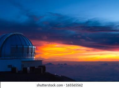 Subaru observatory at sunset,  on Mauna Kea, a dormant volcano on the Big Island, Hawaii