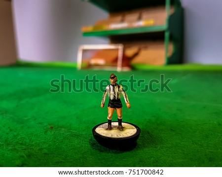 Subbuteo football figure lined