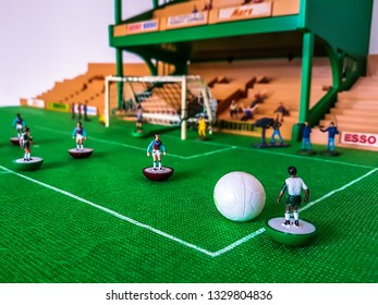 Subbuteo football figures in action in front of the goal on a grass field, Liverpool v West Ham