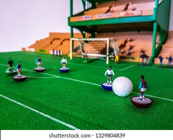 Subbuteo football figures in action in front of the goal on a grass field, West Ham v Tottenham