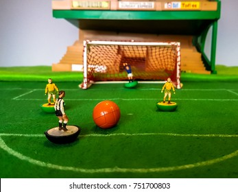 Subbuteo football figures in action on a grass football field, Norwich City v Newcastle Utd