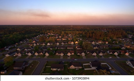 Subdivision at sunset from the air