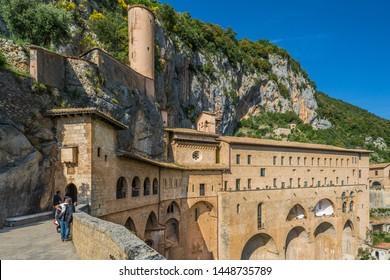 Subiaco, Latium / Italy - June 8 2014: Visitors going to the Holy Cave Benedictine Sanctuary