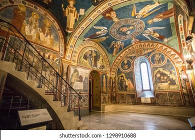 Subiaco, Rome, Italy. Jan 2019 - Unique frescos at Monastery of Sacred Cave (Sacro Speco) of Saint Benedict in Subiaco, province of Rome, Lazio. Monastero del Sacro Speco di San Benedetto da Norcia.
