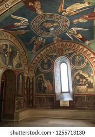 Subiaco Rome Lazio Italy. Dec 2018: unique decorated interiors of Monastery of Sacred Cave (Sacro Speco) of Saint Benedict. Monastero del Sacro Speco di San Benedetto da Norcia.