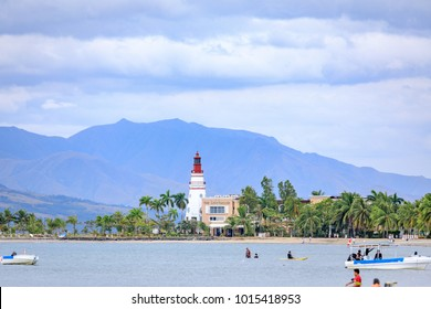 SUBIC BAY, PHILIPPINES : JAN 28, 2018 - Subic Bay coast with lighthouse