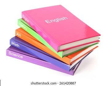 Subject books on white, - textbooks