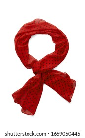 Subject shot of a red viscose scarf with a red polka-dot print. The tied semi-transparent scarf is isolated on the white background.