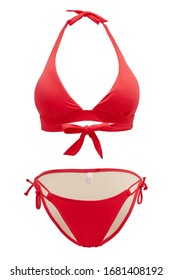Subject shot of a two-piece red swimsuit composed of low-rise bikinis with thin side strings and a bra with wide back ties. The photo is made on the white background.