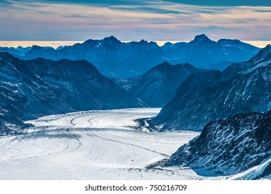 Sublime ice and snow formations and landscapes of the Aletsch glacier at the foot of the Jungfraujoch summit, Canton of Bern, Switzerland