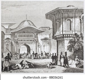 Sublime port old view, Constantinople. By unidentified author, published on Magasin Pittoresque, Paris, 1844