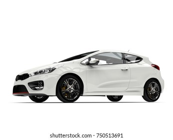 Sublime white modern electric car - low angle side view shot - 3D Illustration