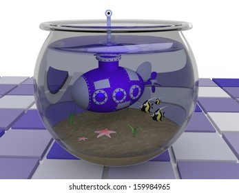 Submarine - 3D Illustration - Took a wrong turn.