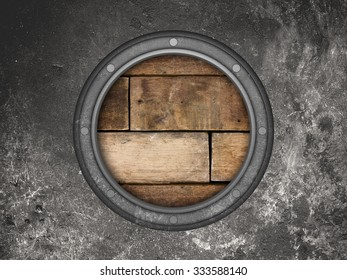 submarine or battleship porthole metal background