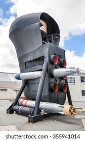 Submarine Bow with Torpedoes and Sonar/Submarine Bow with Torpedoes and Sonar Dome/FREMANTLE,WA,AUSTRALIA-NOVEMBER 19,2015: Preserved Submarine Bow in Fremantle,Western Australia, Maritime Museum