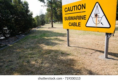 Submarine cable caution sign.