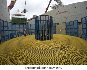 Submarine cable loading to freighter vessel