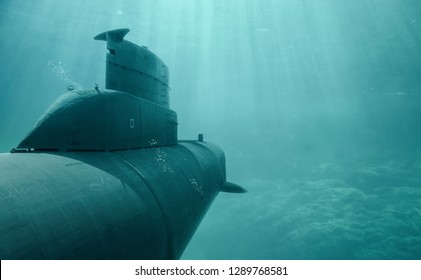 Submarine in the deep sea