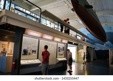 Submarine Force Museum, Groton CT USA, Jun 2019. Inside with photos, exhibits, and replicas leading to the evolution of the modern attack submarine.
