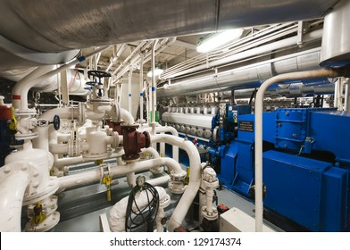 Submarine Heavy Machinery Space - Pipes, Valves, Engines