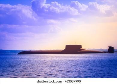 A submarine on the horizon. A submarine against the sky. Army.
