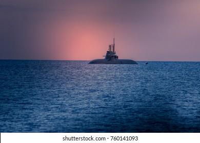 Submarine on the surface