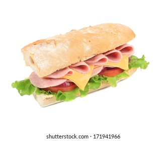submarine sandwich from freshly cut baguette. isolated on white