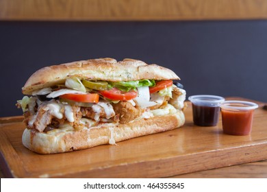 Submarine sandwich fried chicken with extra sauces