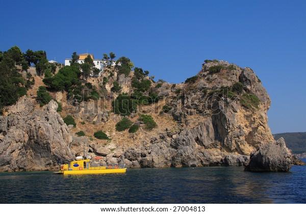 Submarine ship used for excursions in Paleokastritsa on corfu island Greece