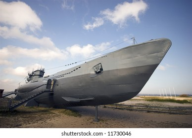"Submarine from World War 2 - It is located on the beach near Kiel in Germany – Type VII U-Boat ""U-995"""