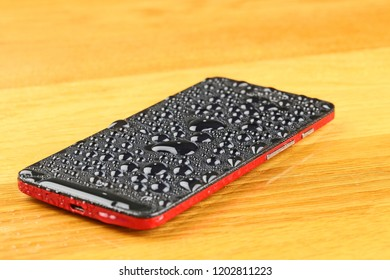 Submerged smart phone.