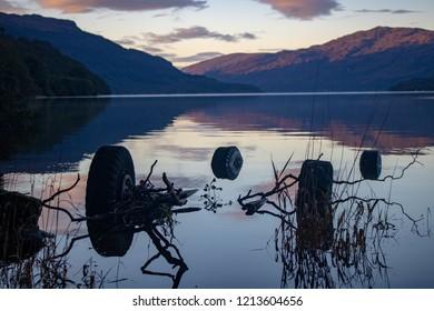 A submerged vehicle in loch Lomond, Scotland