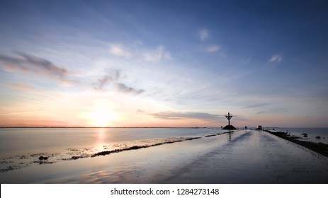 Submersible road at sunset