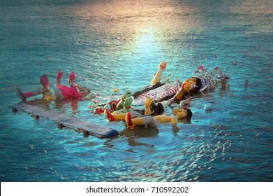 submersion of durga idol on the day of bijoya dosomi