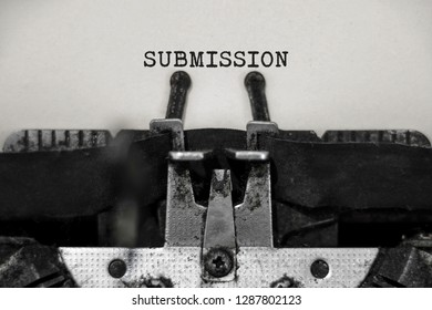 Submission word with black and white typewriter concept
