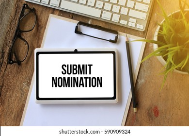 SUBMIT NOMINATION CONCEPT ON TABLET PC SCREEN