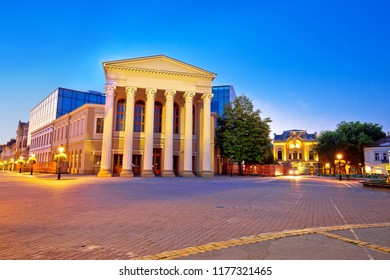 Subotica central square and peoples theater building evening view, Vojvodina region of Serbia