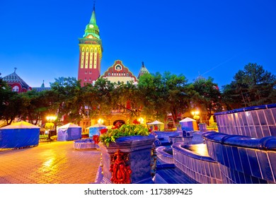 Subotica city hall and fountain square evening view, Vojvodina region of Serbia