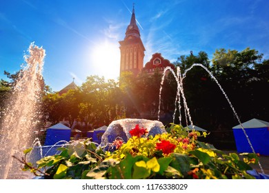 Subotica city hall and fountain sun haze view, Vojvodina region of Serbia