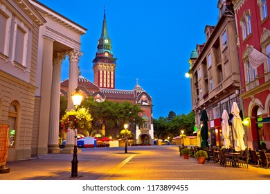 Subotica city hall and main square evening view, Vojvodina region of Serbia