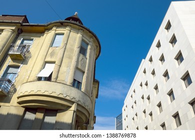 Subotica contrast old and new style architecture, Serbia