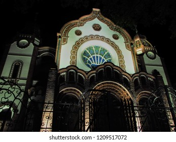 Subotica, Serbia 04.25.2018. The synagogue in the dark