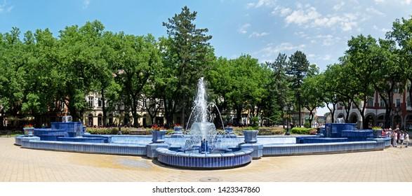 Subotica / SERBIA - 06.07.2019: The Blue Fountain