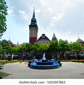 Subotica / SERBIA - 06.07.2019: The Blue Fountain and the city hall