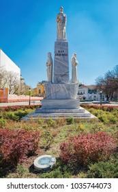 Subotica, Serbia - April 01. 2017:Monument to Emperor Jovan Nenad in Subotica , Serbia. Emperor Jovan Nenad was the leader of Serbian mercenaries.