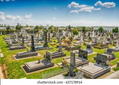 Subotica, Serbia - April 23, 2017: An editorial stock photo of a Cemetery/Graveyard in Subotica, Serbia.