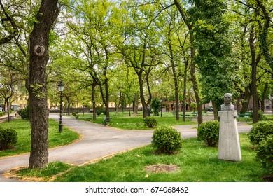 Subotica, Serbia - April 23, 2017: Ferenc Rajhl park in Subotica, Serbia