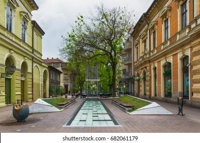 Subotica, Serbia - April 23, 2017:  Retro building in Subotica city, Serbia